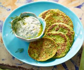 Zucchinipuffer mit Schafskäse-Dip - Peynir Soslu Mücver