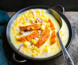 Soupe de maïs, haddock et pommes de terre