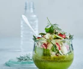 Petit flan vert et salade printanière