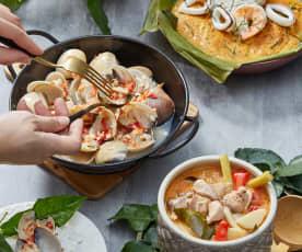 Tom Ga Khai (Thai Coconut Milk Chicken), Steamed Clams With Garlic And Thai Curry Fish Custard