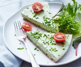 Tarta de queso cremoso con hierbas