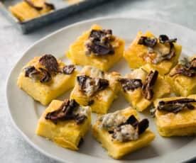 Polenta Squares with Gorgonzola and Porcini - Quadrotti di polenta con Gorgonzola e porcini