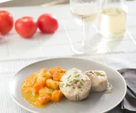 Merluza con calabaza y patata
