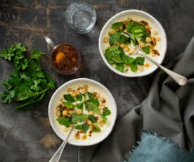 Yoghurt soup with chickpeas and garlic chilli oil