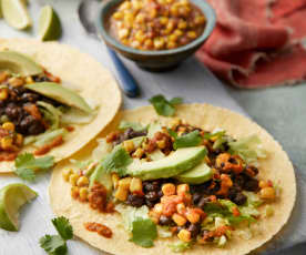 Mexican Black Bean Tacos with Sweetcorn Salsa and Avocado