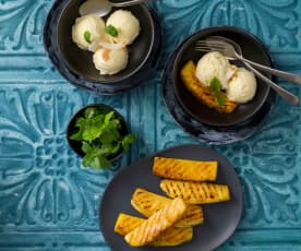 Piña colada ice cream with grilled pineapple