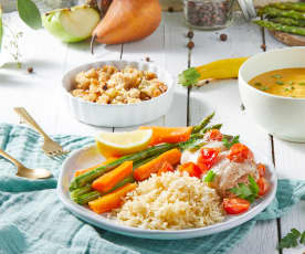 Summer Squash Soup, Fish with Rice and Vegetables, Apple-Pear Crumble