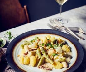 Gnocchi in Spargel-Rahmsauce