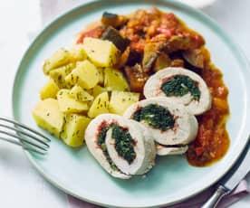 Puten-Spinat-Röllchen mit Ratatouille und Kartoffeln