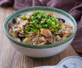 青蔥香菇麻油雞飯
