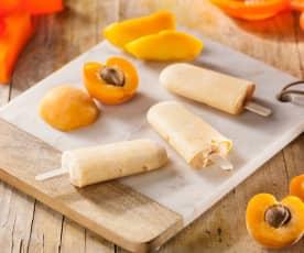 Ghiaccioli cremosi mango e albicocca