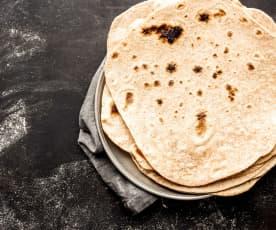 Tortillas integrales y condimento para fajitas