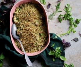 Crumble de legumes com ervas aromáticas