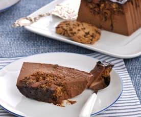 Pudin de chocolate y queso con cookies