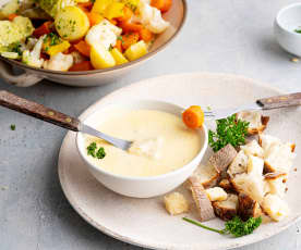 Verduras al vapor con crema de parmesano