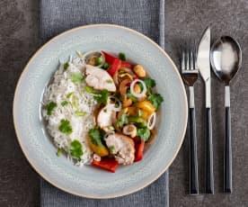 Kurczak w sosie ostrygowym (sous-vide, z osłoną noża miksującego) z ryżem jaśminowym