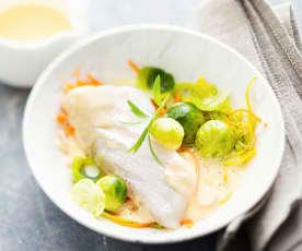 Églefin, beurre nantais et petits légumes