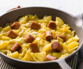 Patatas, huevos rotos y chistorra de merluza