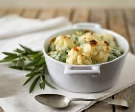 Cauliflower, broccoli and blue cheese gratin
