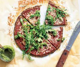 Pizza sans gluten à base de courgette