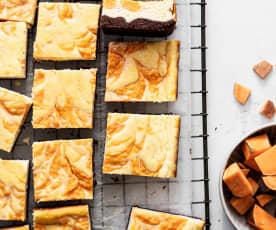 Quadrados cheesecake de batata-doce