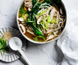 Miso chicken noodle soup (gut health)