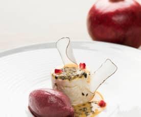 Kokosmilchreis mit Granatapfel-Ingwer-Sorbet