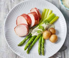 Schweinefilet mit Spargel und Prosecco-Sauce