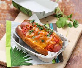 Chili chorizo dog