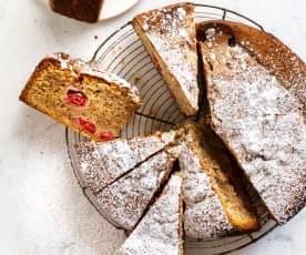Gâteau aux framboises et aux noisettes