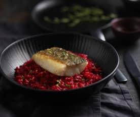 Bacalao con risotto de remolacha y lemon grass (Al vacío)