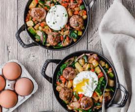 Mini Meatball Breakfast Hash
