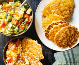 Petites galettes de maïs et taboulé de quinoa au maïs