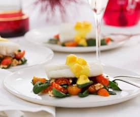 Bacalao con ensalada y vinagreta de mango (Al vacío)