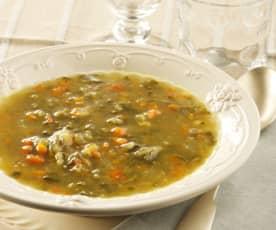 Sopa juliana con verduras frescas