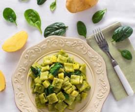 Pasta risottata con crema di spinaci e patate