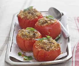 Tomates rellenos de carne y quinoa