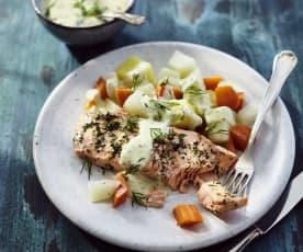 Lachs mit Dill-Senf-Sauce und Gemüse