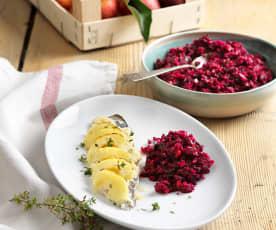 Felchenfilets mit Apfelkren und Rote-Rüben-Salat