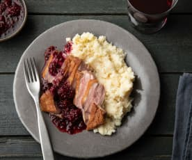 Duck with Blackberry Sauce and Celeriac Mash