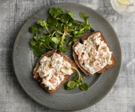 Guinness® Bread with Smoked Trout Topping and Watercress