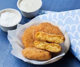 Nuggets veganos con salsa de mostaza y 'veganesa'