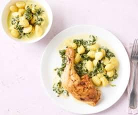 Hähnchenkeulen mit Spinat-Parmesan-Sauce und Gnocchi