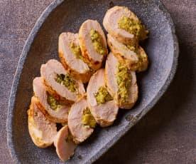 Pollo ripieno di pancetta e zucchine sottovuoto