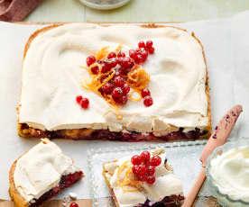 Beeren-Flan-Kuchen mit Orangenbaiser