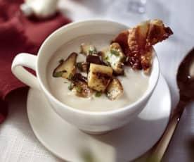 Cappuccino von Waldpilzen mit Serrano-Chips