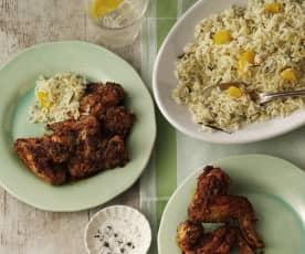 Asas de frango com arroz de laranja e ervas