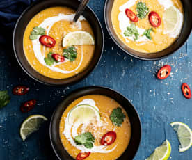 Süßkartoffel-Linsen-Kokosnuss-Suppe