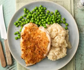 Inside-out Chicken Kievs with Celeriac Mash and Peas
