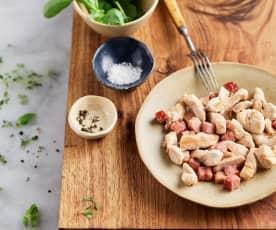 Sautéing Chicken Strips with Pancetta